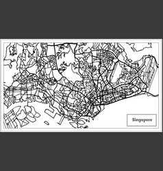 singapore city map in black and white color vector image