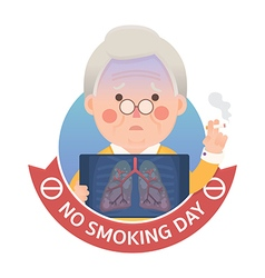Smoking lung problem with no smoking day sign vector