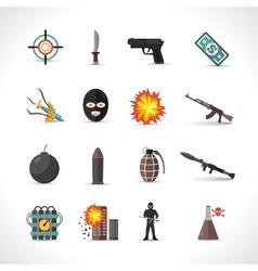 Terrorism Icons Set vector image vector image