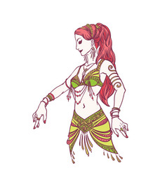 tribal dancer or belly dancer girl in hand drawn vector image vector image