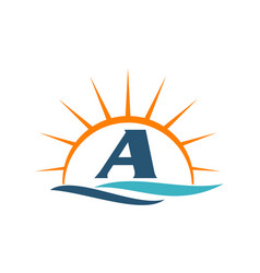 Wave sunset initial a vector