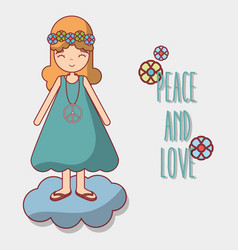 woman in cloud peace and love vector image vector image