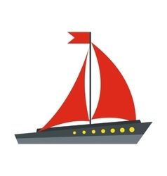 Boat with red sails icon flat style vector