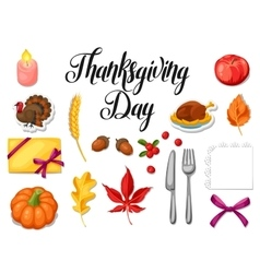 Thanksgiving day set of object autumn and holiday vector
