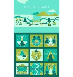 Camping and Travel Infographic set with Icons and vector image