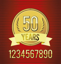Golden emblem of anniversary vector image