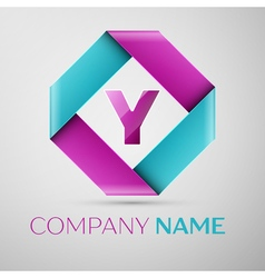 Letter y logo symbol in the colorful rhombus vector