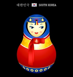 Matryoshka Korean girl vector image