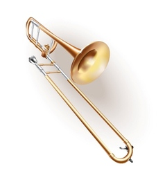 Classical trombone on white background vector