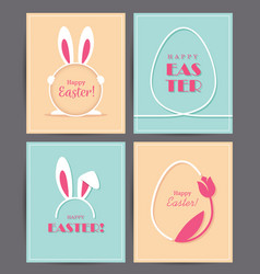 Four easter greeting cards vector