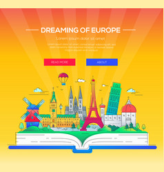 Dreaming of europe - line travel vector
