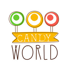 Candy world logo sweet bakery emblem colorful vector