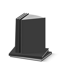 stack of blank black books on white background vector image