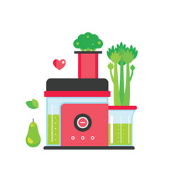 Making green juice and smoothie colorful mixer vector
