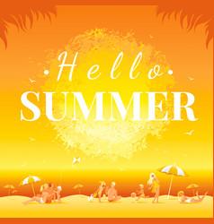 Hello summer banner sunset landscape sea beach vector