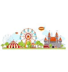 Amusement park composition vector