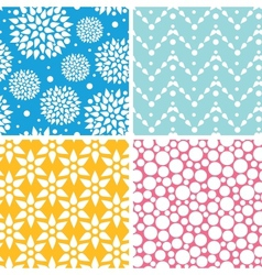 Four vibrant abstract geometric patterns and vector image