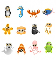 Marine life animals set vector