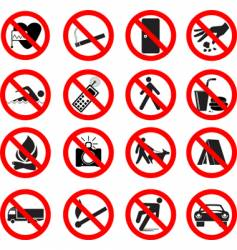 Set of forbidden signs vector