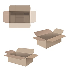 Open cardboard boxes vector