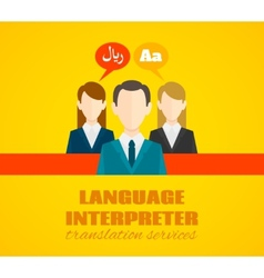 Translaton and dictionary service poster flat vector