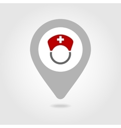 Nurse map pin icon vector