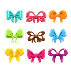 Cute colorful bows set set vector