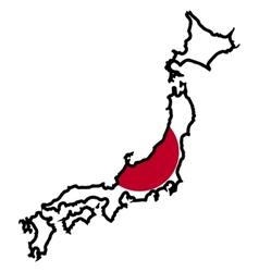 Map in colors of japan vector