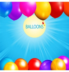 Balloons over sunny sky background vector image