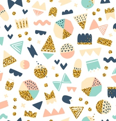Fun shapes pattern with gold on white vector image