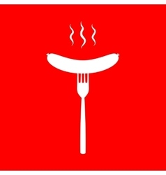 Sausage on fork sign vector