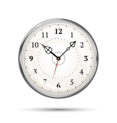 Realistic metal glossy clock on white vector