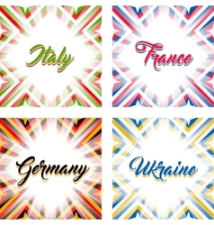 Abstract geometric backgrounds in national colors vector