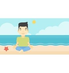 Man meditating in lotus pose vector