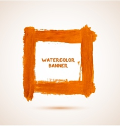 Abstract orange watercolor hand-drawn banner vector image vector image