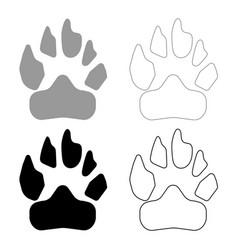Animal footprint icon grey and black color vector