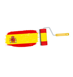 brush stroke with spain national flag isolated on vector image