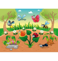 Bugs 1 snail with background vector