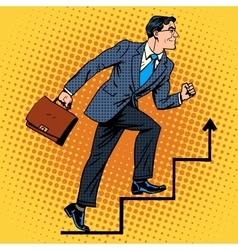 Businessman climbs up the career ladder vector