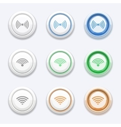 button with wifi or wireless icon vector image