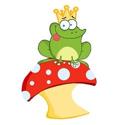 Cartoon frog on mushroom vector