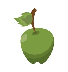 Cartoon green apple leave fruit icon vector