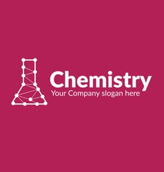chemical flask with lines connected dots vector image vector image