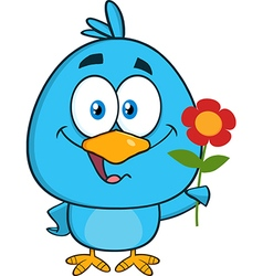 Cute Bird with Flower Cartoon vector image vector image