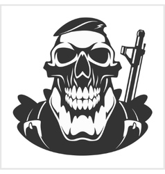 Face of military man with automatic gun vector
