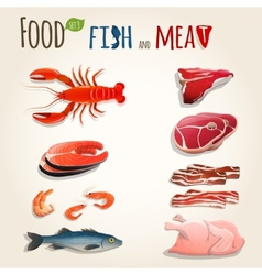 Fish and meat set vector image
