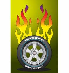 flaming wheel vector image vector image