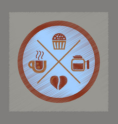 Flat shading style icon coffee logo vector