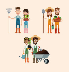 Group couple farmers image vector