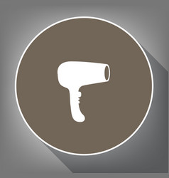 hair dryer sign white icon on brown vector image